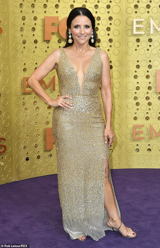 Julia Louis Dreyfus  in Glittery Gold Dress back  to the Emmys Red Carpet later Cancer fight